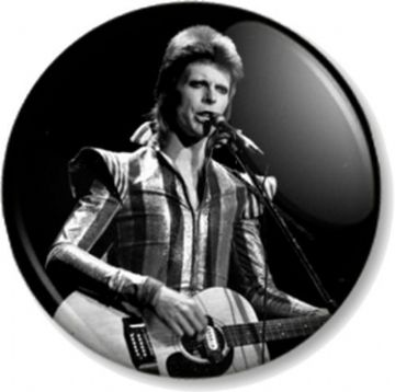 DAVID BOWIE Pinback Button Badge ZIGGY STARDUST HUNKY DORY BLACK & WHITE